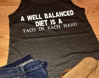 Women's Relaxed Graphic Tank- A Well Balanced Diet