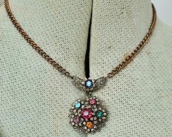 Boho collar Choker necklace Brass flat connector 17 holes Organic vintage patina for Jewelry handmade making Bohemian Boho necklace 468
