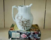 Ironstone Pitcher floral pattern vintage water brown pattern dogwood transferware antique white pottery