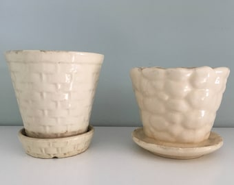 Lot 2 vintage white pots with attached saucers Morton Pottery As/Is