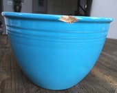 Fiesta turquoise bowl 5 vintage blue mixing bowl as is with chips stoneware