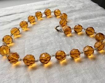 Vintage Amber cut glass bead Necklace Nice condition! 1/20 12 KGF