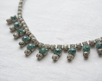 Vintage Aqua Blue Rhinestones necklace 1950's So sweet!