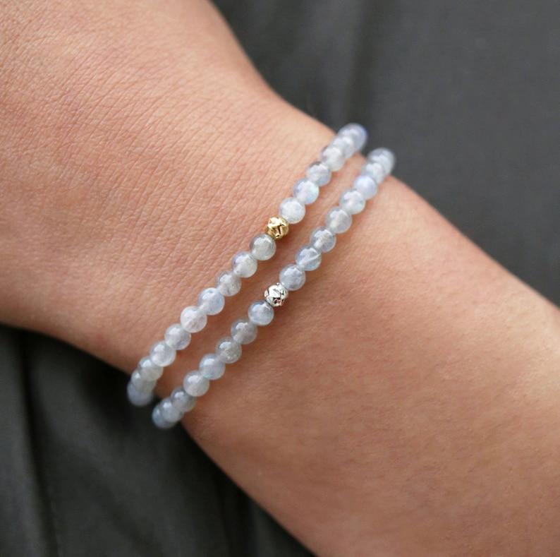 Healing Gemstone Bracelets 14K Gold Filled Dainty Labradorite Bracelet Set Protection Bracelets Sterling Silver