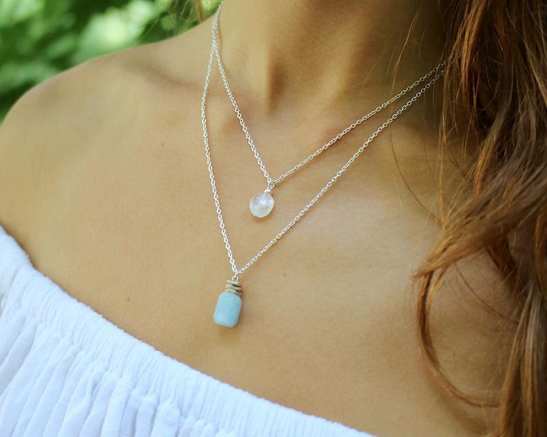 Nautical Aquamarine Necklace-Aquamarine Necklace-Healing Necklace-Crystal Necklace-Layering Necklace-Gemstone Necklace-Silver Necklace-Boho