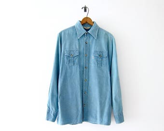 50% of Proceeds go to Planned Parenthood! Vintage Levis Big E Corduroy Shirt, 70s Levi's Shirt, Faded Blue Corduroy Shirt, Mens Shirt Large