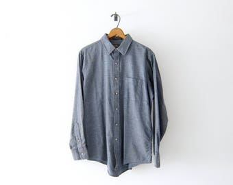 50% of Proceeds go to Planned Parenthood! Vintage Viyella Shirt in Slate Gray, 60's, Merino Wool & Cotton Twill Blend, Men's Medium/Large
