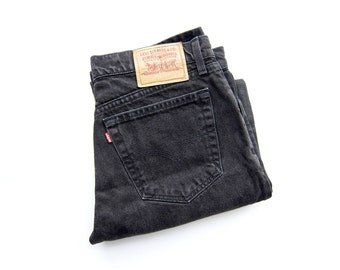 Vintage 90's Black Levi's: 50% of Proceeds go to Planned Parenthood! Boyfriend Jeans, Black 90s Denim, Red Tab, 33 Waist, Relaxed Fit