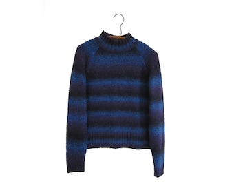 50% of Proceeds go to Planned Parenthood! Vintage EMS Mock Neck Sweater with Blue, Purple & Black Stripes, 90s, Women's Medium, Mohair Blend