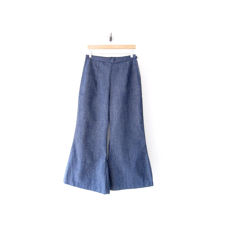 High-Waisted Chambray Bellbottoms 29 Waist 60/'s Denim Handmade Women/'s Jeans 50/% of Proceeds go to Planned Parenthood Vintage Wide-Leg