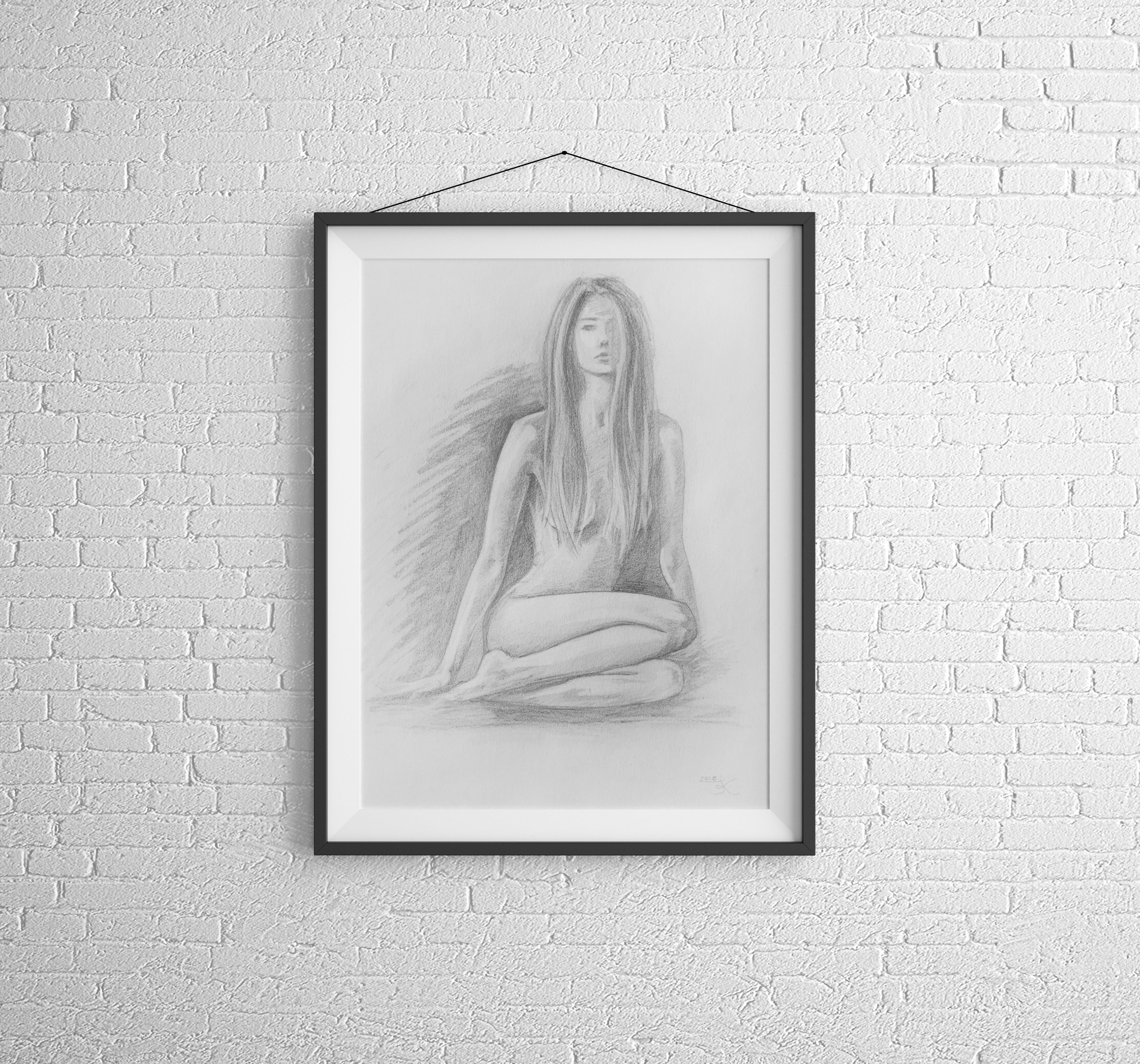 Nude Pencil Sketch Of Woman Black And White