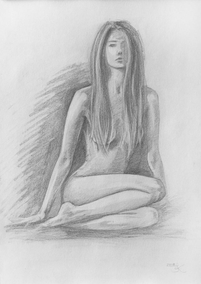 Original pencil sketch of woman pencil sketch woman sketch woman drawing pencil drawing original sketch hand drawn present gift nude