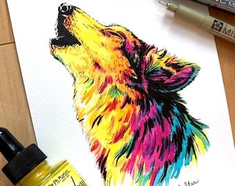 "ART PRINT - hand signed: from Original Drawing - ""Rainbow Wolf"""