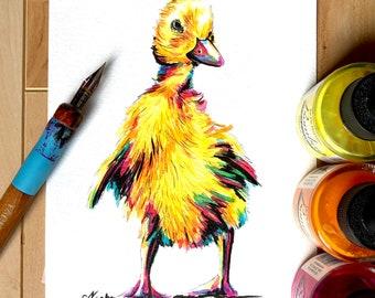 "ORIGINAL Ink Drawing - ""Rainbow Duckling"""