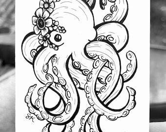 ORIGINAL - Framed Mini Octopus 2