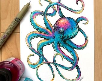 ART PRINT - hand signed: Rainbow Octopus