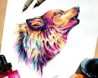 ORIGINAL Ink Drawing - Wolf