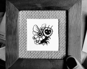 ORIGINAL - Framed Mini Bee 1