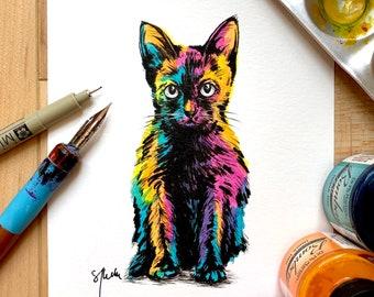 "ART PRINT - hand signed: from Original Drawing - ""Rainbow Black Kitten"""
