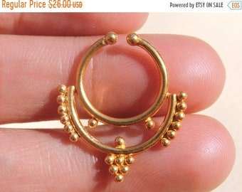 3cf5f6d84 Summer Sale 22 Kt Gold Polished Decorated Indian Nose Ring Nose Bali Belly Ring  Stud Ring Septum Ring