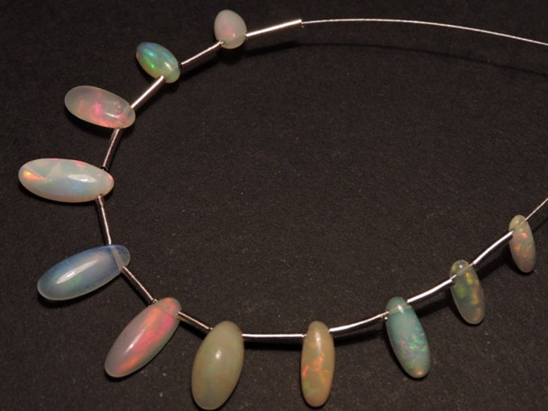 Ethiopian Opal Beads10 Pcs Outrageous Natural Ethiopian Welo Fire Opal Gemstone Smooth Polished Long Oval Beads Size 10X4-7X3 MM
