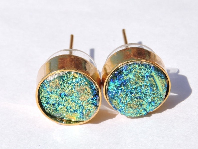 On Sale 22 Kt Gold Polished Beautiful Natural Peridot Green Titanium Coated Druzy Round Studs Druzy Stud Earrings