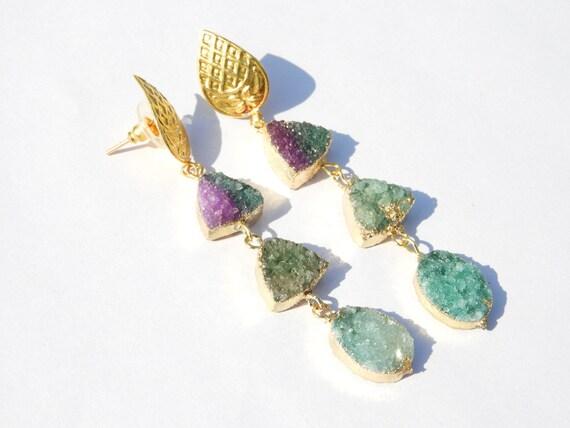 On Sale Druzy EarringsSolar Druzy EarringsGemstone Earrings22 Kt Gold Electroplated Cave Druzy Earrings Gift For Her