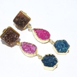 ON SALE 22 Kt Gold Polished Natural Sparkling Druzy Earrings Pair Dangle Earrings Druzy Gemstone Earrings Pair