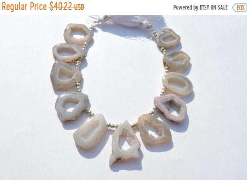 On Sale 10 Pcs Very Attractive Natural White Druzy Agate Geode Slices Beads Size 27X19-19X18 MM