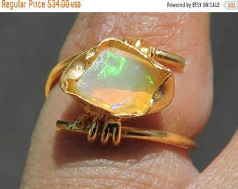 Etsy Sale 1 Pc Very Beautiful 22 Kt Gold Polished Over 92.5 Sterling Silver Natural Ethiopian Welo Fire Raw Opal Ring Opal Rough Ring