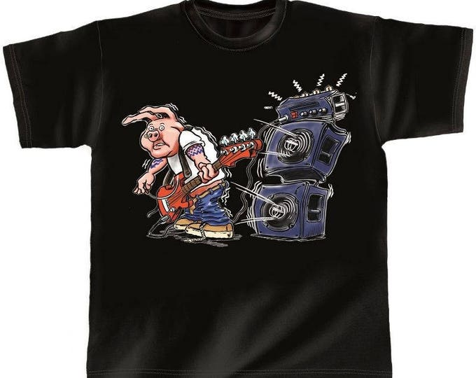 Rock You music T shirt guitar pig S M L XL XXL