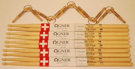 Agner Drumsticks Drumsticks 5a Hickory Bundle No. 4