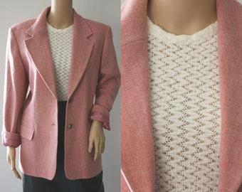 SALE -Blush Pink 90's Wool Blazer
