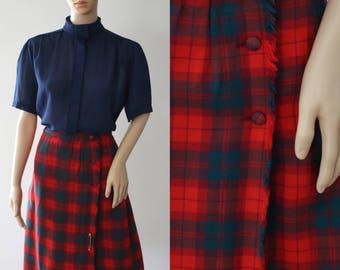 CLEARANCE  - Cool 80s Midi Red Tartan Wool Skirt