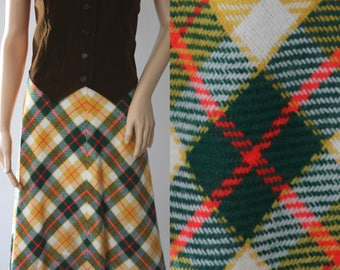 CLEARANCE  - Colorful 70s Plaid Wool Maxi Skirt