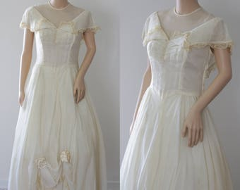 SALE -Ravishing 50s Ecru Debutante/Engagement/Bridal/Prom Dress