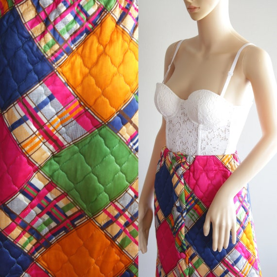 SALE   - Amazing 70s Patchwork Quilted Skirt