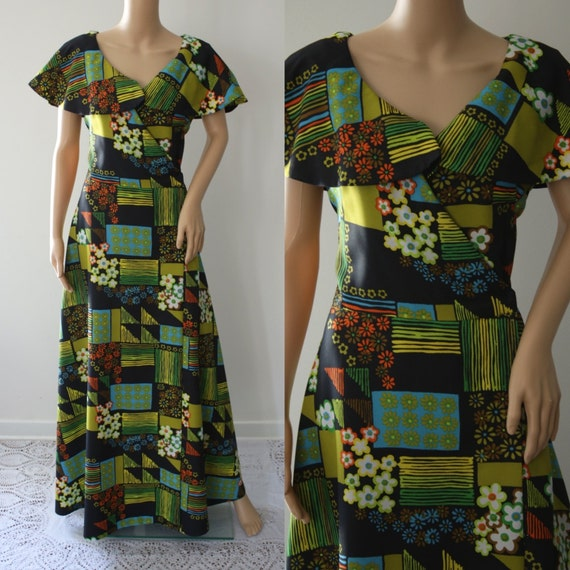 CLEARANCE - Colorful 70's Maxi  Psychedelic Dress