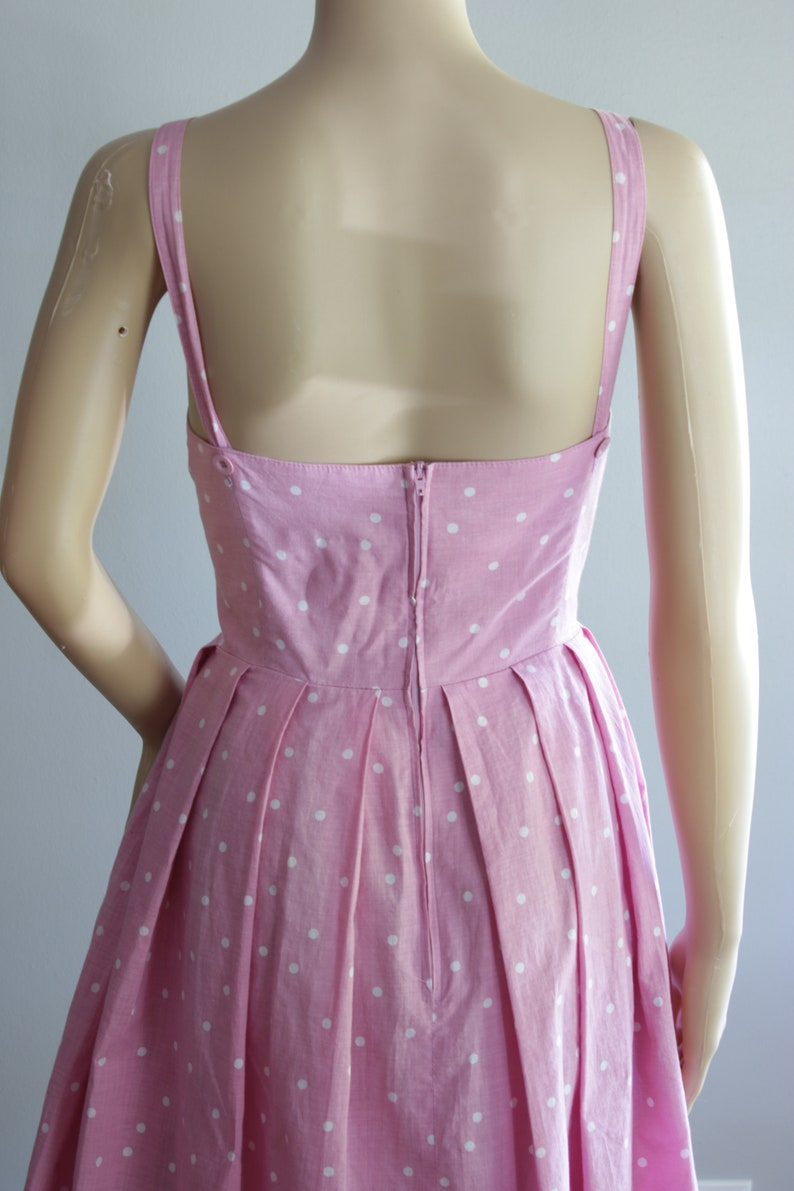 SALE  Cute 80s Pink Polka Dot Summer Dress