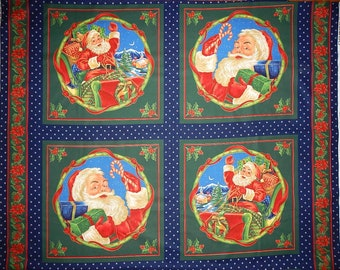 4 Blocks  Pillow Santa  Sled Toys Gifts Kids Girl Boy Christmas Panel Fabric by Laurie Cook for VIP Cranston  Pillow Cotton
