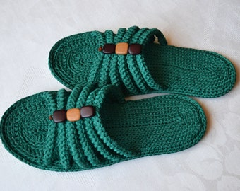 41418ce94 Women s slippers. For home. Green. Handmade. Wicker. The spit. Knitting.  Slippers with soft double soles. Summer. Youth style. Gift.