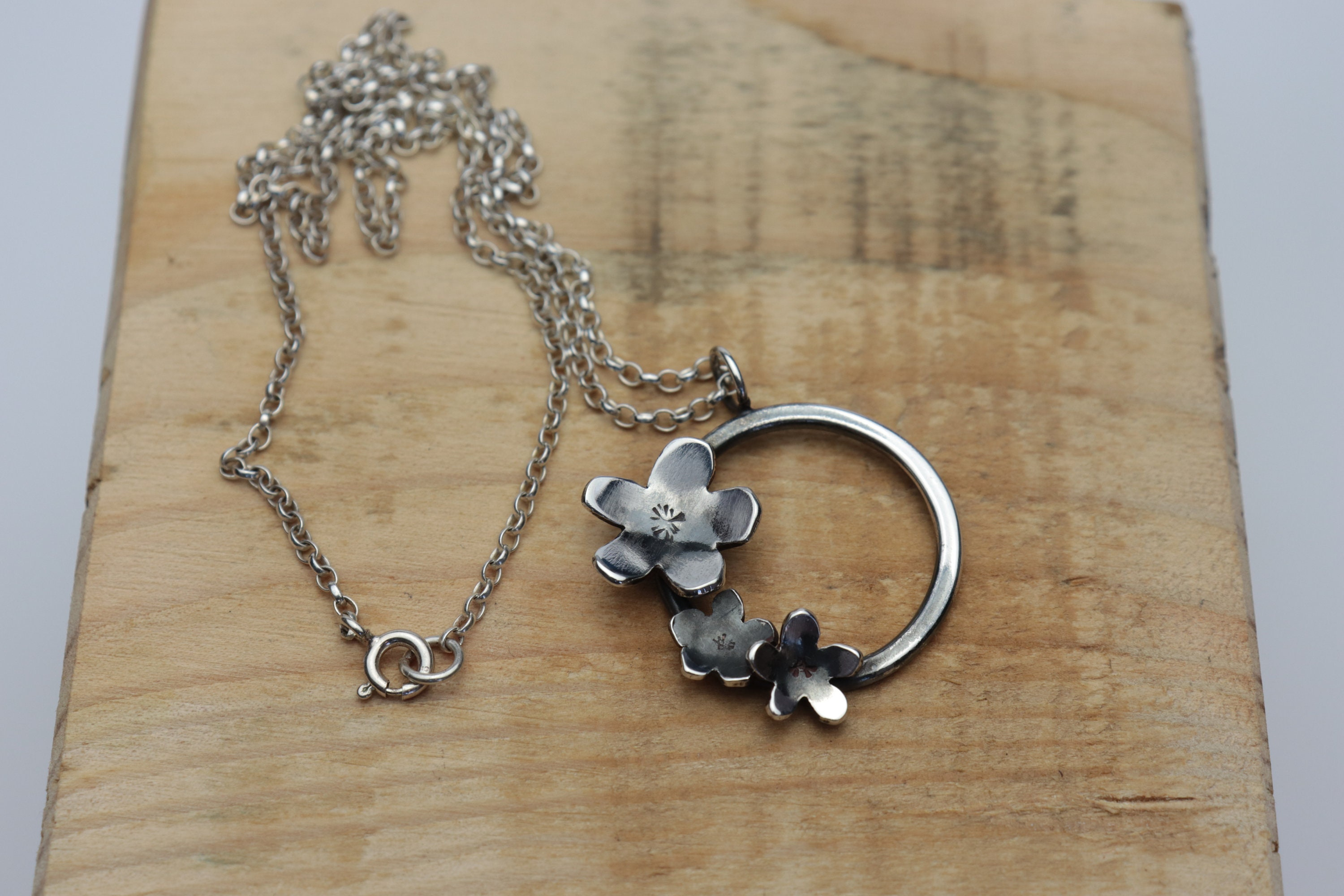 Sterling Silver Blossom Pendant, Forget Me Not Necklace, Flower Pendant, Nature Jewellery, Contemporary Jewellery, Floral Fashion, Circles