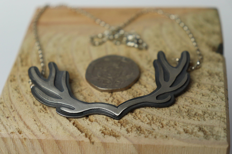 Sterling silver deer pendant, stag necklace, deer jewellery, animal jewellery, stag pendant, nature lover, antlers, antler necklace, animal