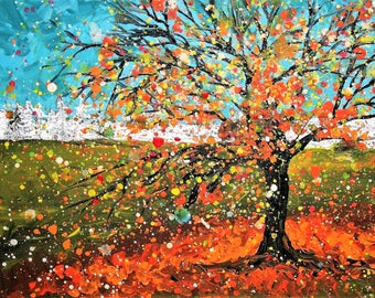 Large (A3) giclee fine art print of original acrylic painting of leaves falling from a tree in autumn