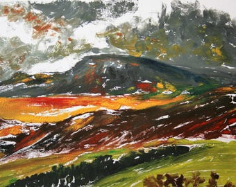 Giclee fine art print of original monotype print of maountains