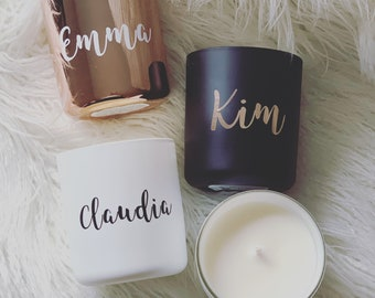 Personalised Soy Wax Candle   Handmade   Customise Your Name   Gold Font   Silver Font   White Font   Gifts   Wedding Day