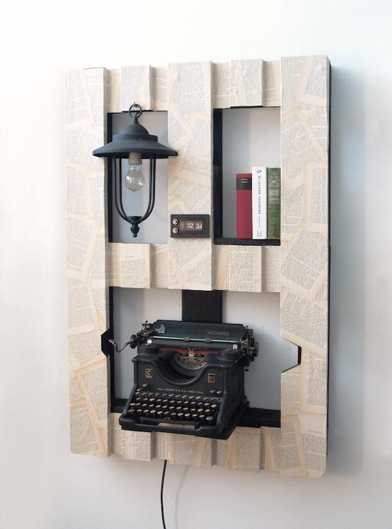 Bookshelf With WWI Olivetti Typewriter Lamp Analog Clock