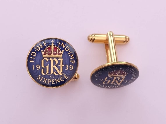Enamelled Coin Cufflinks 1943 George VI Sixpence