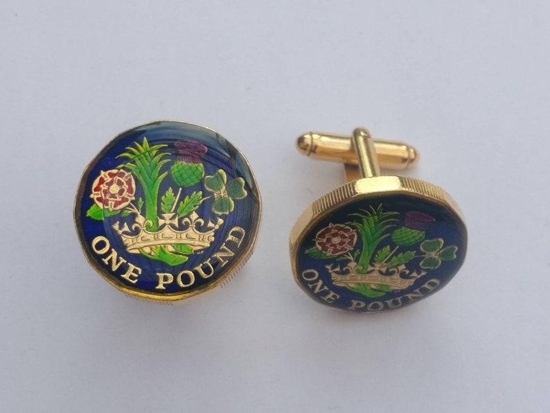 Enamelled Coin Cufflinks 2019 One Pound