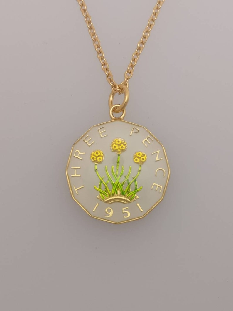 1951 George VI Threepenny Enamelled Coin Necklace